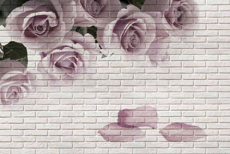 3d Tapete, Blumenstrau? von Rosen auf wei?er Ziegelsteinbeschaffenheit Der Freskoeffekt stock abbildung