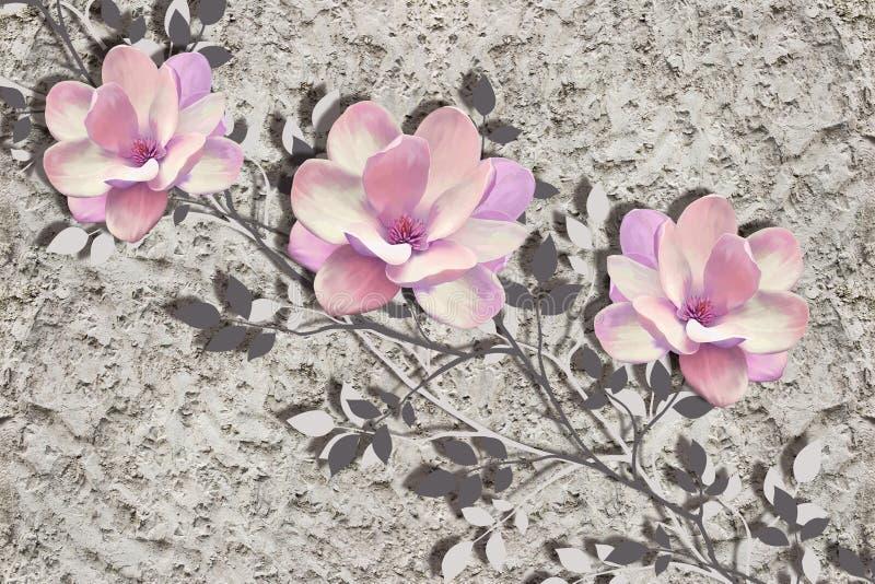 3d Tapete, Magnolienblumen auf rauer Gipswand stock abbildung