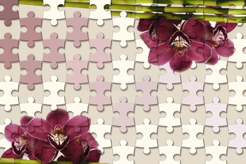3d tapetowa tekstura, wyrzynarki łamigłówki kawałki i orchidee na pastelowego koloru tle, royalty ilustracja