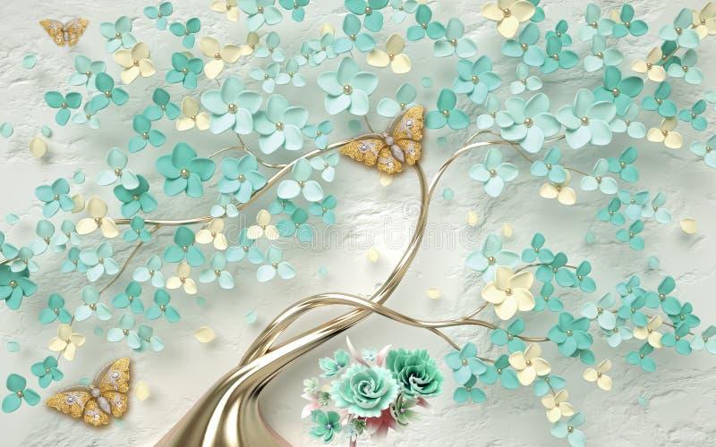3d tapetowy abstrakcjonistyczny kwiecisty tło z zieleń kwiatami i złotym motylem ilustracja wektor