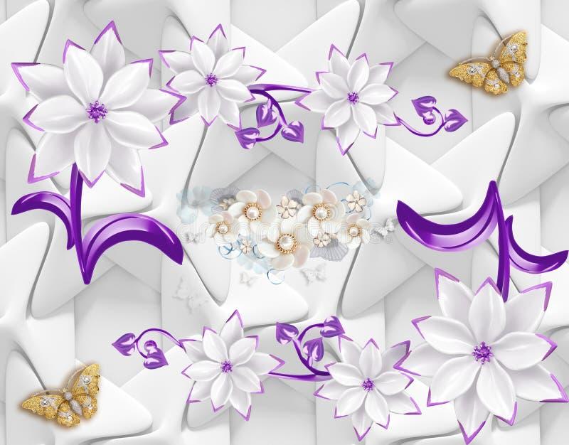 3d tapetowy abstrakcjonistyczny tło z motylem i purpur menchiami kwitnie royalty ilustracja