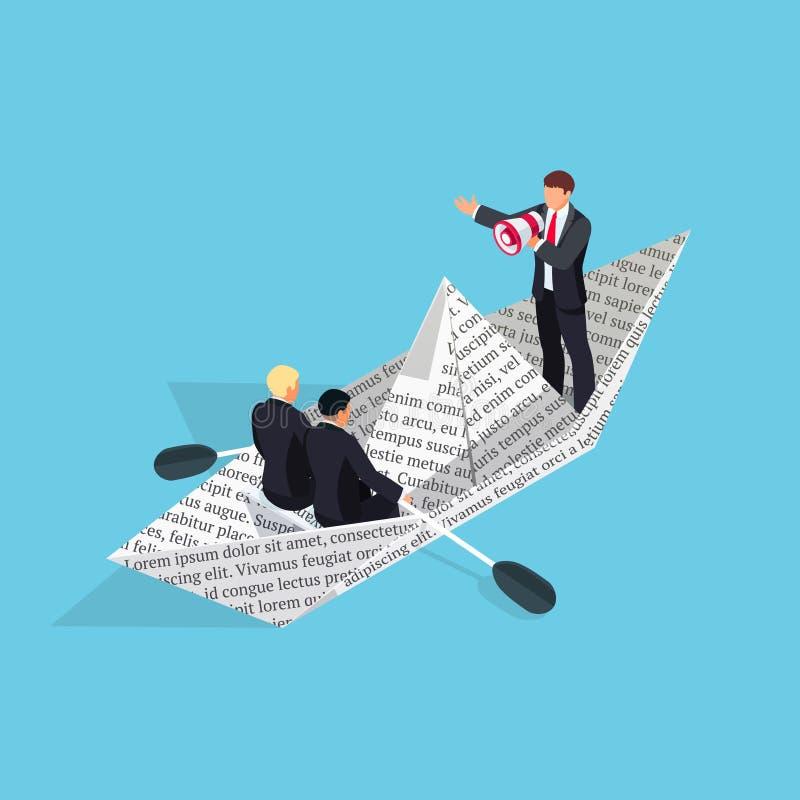 3d tapezieren Boot von der Zeitung mit Geschäftsmännern stock abbildung