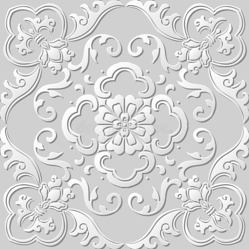 3D tapezieren Kunstmusterspiralenkurven-Blattblume vektor abbildung