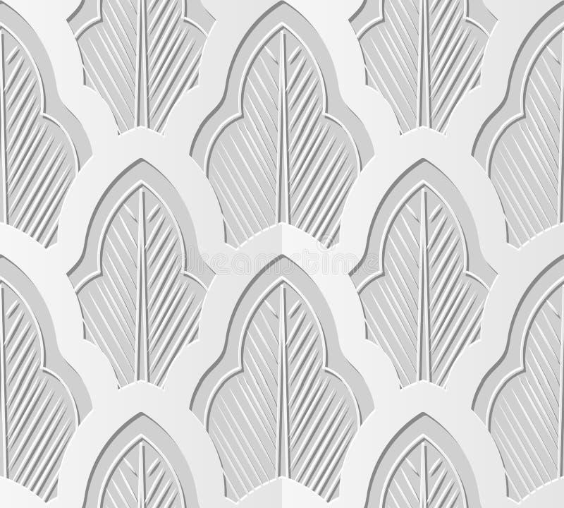 3D tapezieren Kurvenkreuz-Blattchintz der Kunst orientalischen botanischen vektor abbildung