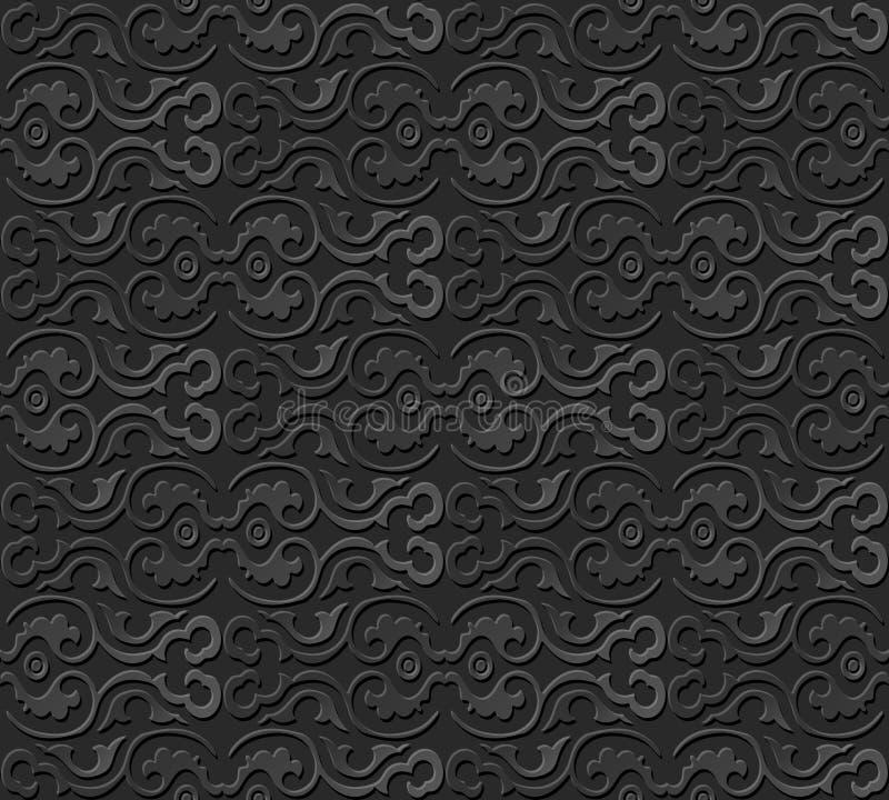 3D tapezieren runden Rahmen der Kunstmusterkurven-Spirale lizenzfreie abbildung