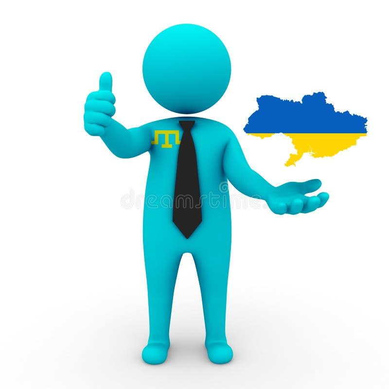 3d Tatars Krymskiego biznesmena ludzie - kartografuje flaga Ukraina Krymscy Tatars w Ukraina obraz royalty free