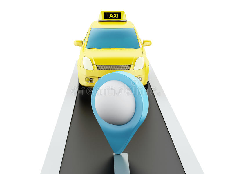 3d taxi car on the road. 3d renderer image. Taxi car on the road, and map pointer. white background royalty free illustration