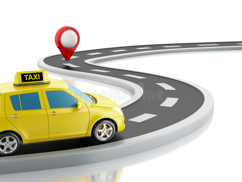 3d taxi car on the road. 3d renderer image. Taxi car on the road, and map pointer. white background stock illustration