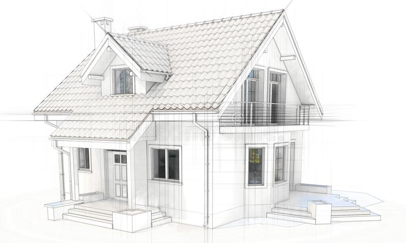 download 3d technical drawing of a modern house stock illustration illustration of modern estate - 3d Drawing Of House