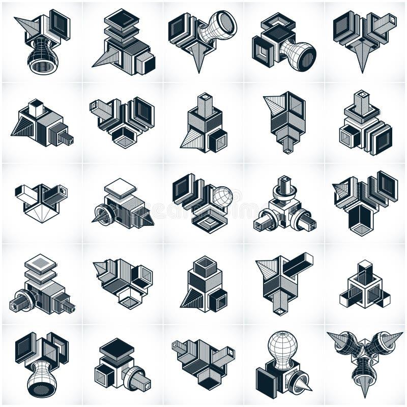 3D techniekvectoren, inzameling van abstracte vormen vector illustratie