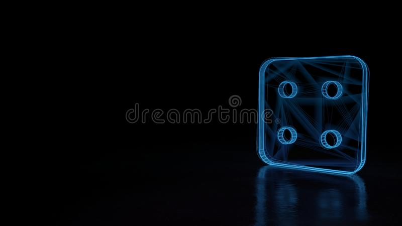 3d glowing wireframe symbol of symbol of dice four isolated on black background. 3d techno neon blue glowing wireframe with glitches symbol of dice with four royalty free illustration