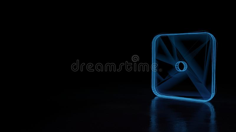 3d glowing wireframe symbol of symbol of dice one isolated on black background. 3d techno neon blue glowing wireframe with glitches symbol of dice with one dot vector illustration