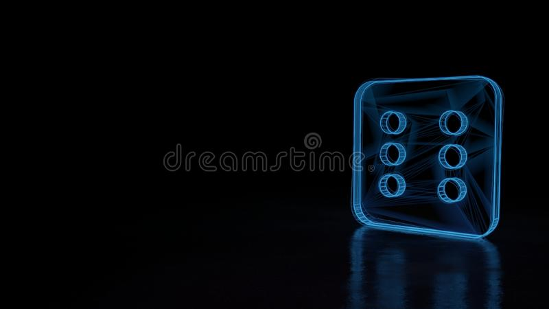 3d glowing wireframe symbol of symbol of dice six isolated on black background. 3d techno neon blue glowing wireframe with glitches symbol of dice with six dots royalty free illustration
