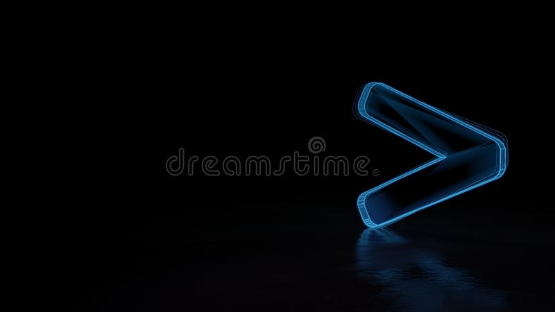 3d glowing wireframe symbol of symbol of greater than isolated on black background stock illustration