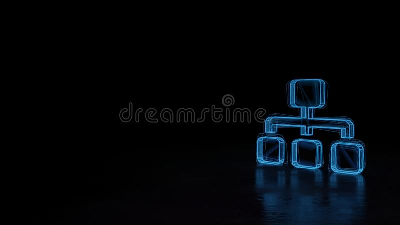 3d glowing wireframe symbol of symbol of sitemap isolated on black background. 3d techno neon blue glowing wireframe with glitches symbol of network from one stock illustration