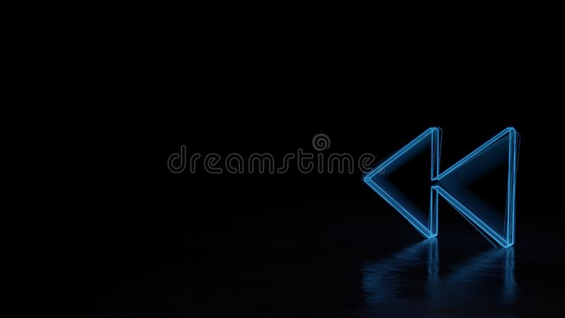 3d glowing wireframe symbol of symbol of rewind isolated on black background stock illustration