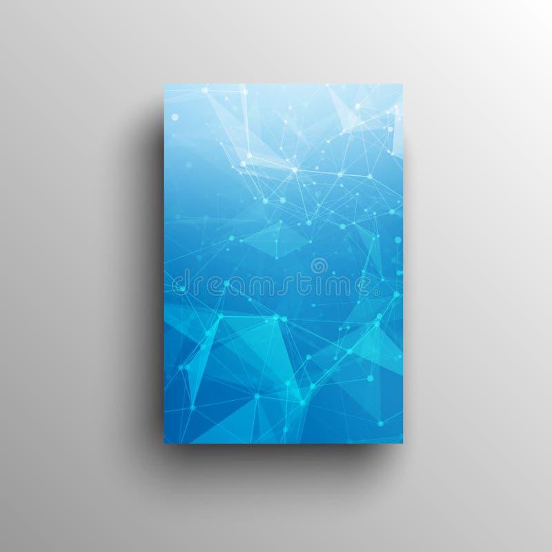 3D technologii Abstrakcjonistyczny niski poli- błękitny jaskrawy wektor royalty ilustracja