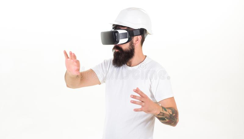3d technology, virtual reality, entertainment, cyberspace and people concept - happy young man with virtual reality. Headset or 3d glasses. Bearded man wearing stock photography