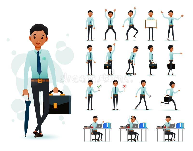 2D tecken för manlig kontorist för svart afrikan som är klart att använda uppsättningen som bär den långa muffen vektor illustrationer