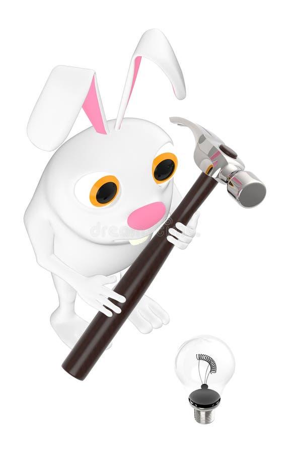 3d tecken, kanin som nära rymmer en hammare till en kula stock illustrationer