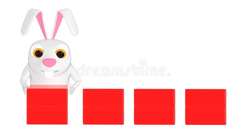 3d tecken, kanin som ordnar askar royaltyfri illustrationer
