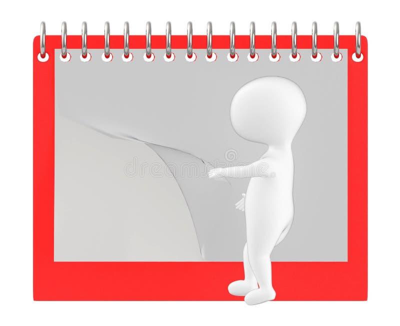 3d tecken, man som bläddrar sidan av den tomma kalendern/notepaden stock illustrationer