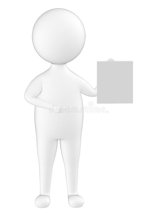3d tecken, man som rymmer ett papper royaltyfri illustrationer