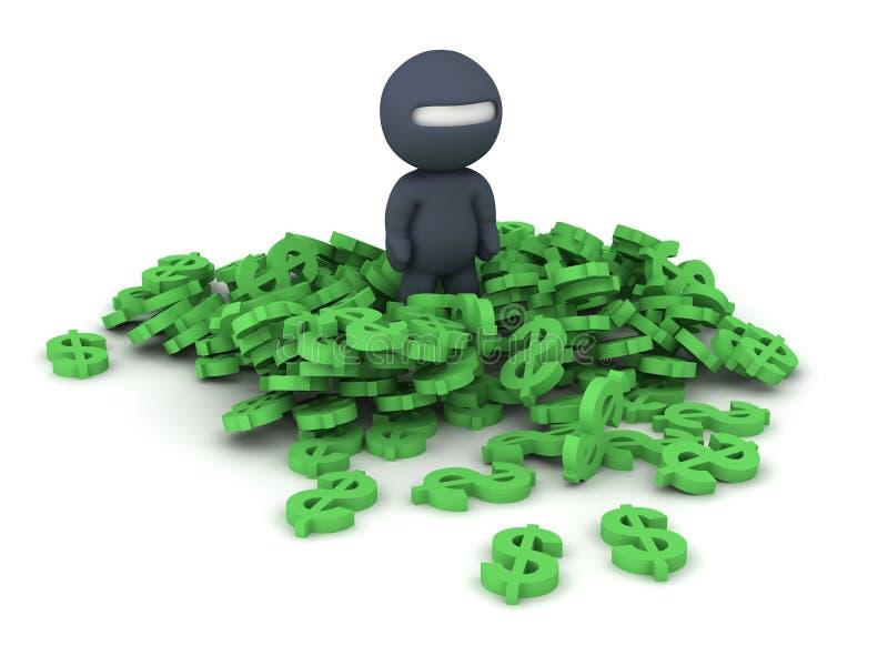 3D tecken Ninja och dollarsymboler stock illustrationer