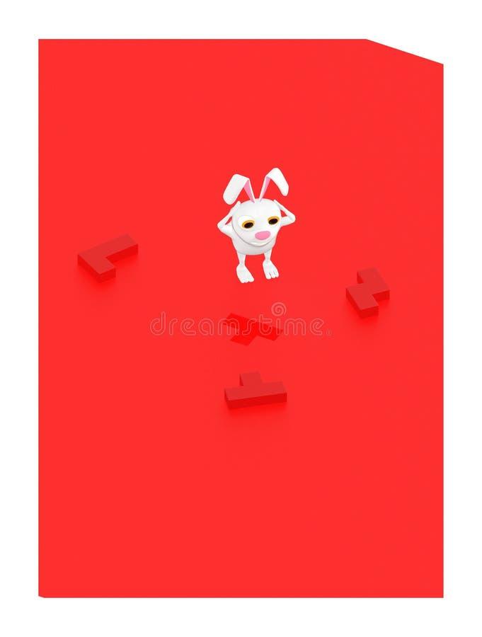 3d teckenet, kanin, väljer den högra formfigursågen för att fästa saknaden stock illustrationer