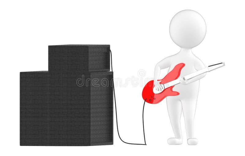 3d teckenet, mannen som spelar gitarren, förband till en högtalare stock illustrationer