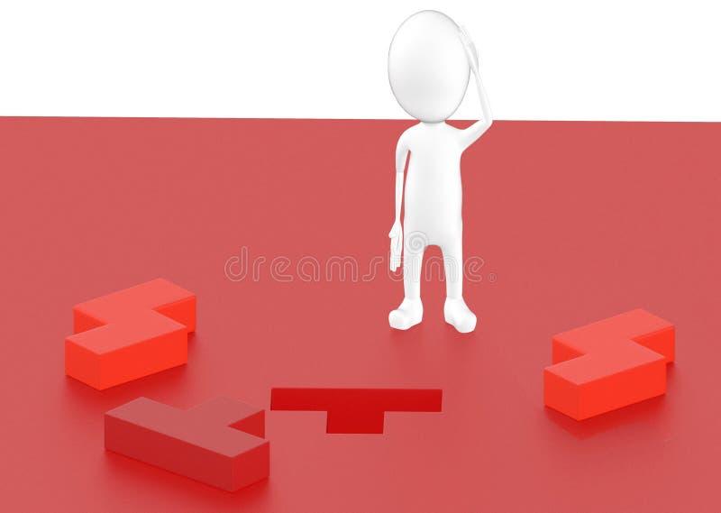 3d teckenet, mannen som tänker, unsoled pusslet, tre lösningar vektor illustrationer