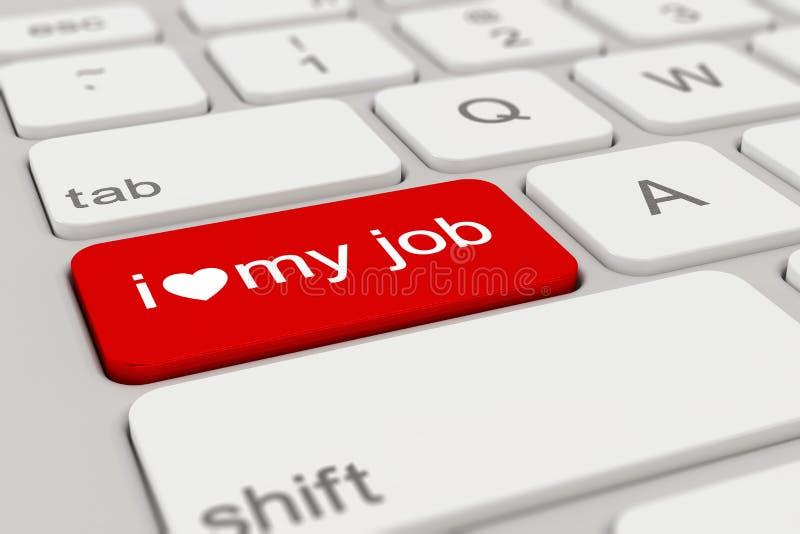 3d - teclado - amor de i meu trabalho - vermelho ilustração stock