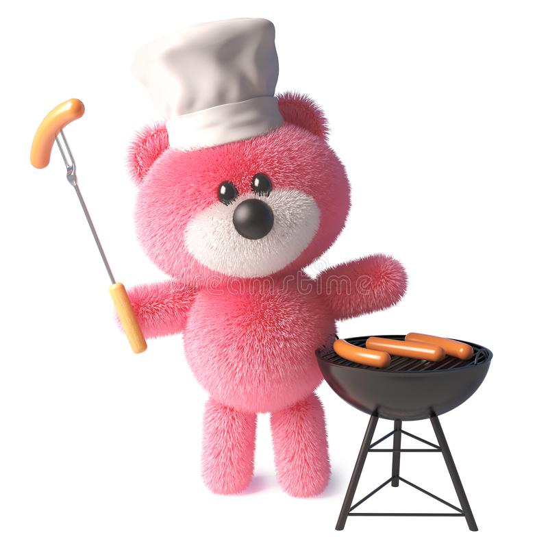 3d teddy bear with fluffy pink fur cooks sausages on a bbq barbecue, 3d illustration. Render stock illustration