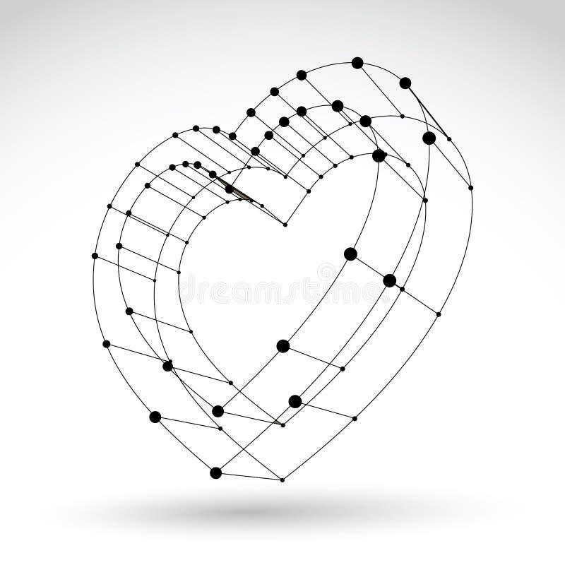 3d teken van het de liefdehart van het netwerk modieuze Web zwart-wit vector illustratie