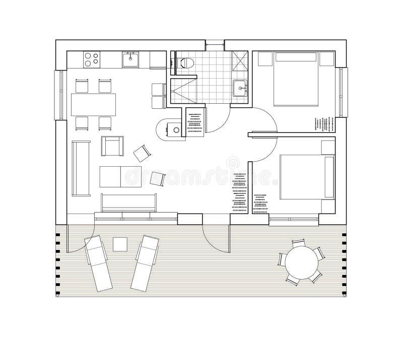 2D tekening - geïsoleerd vloerplan van het enige familiehuis royalty-vrije illustratie
