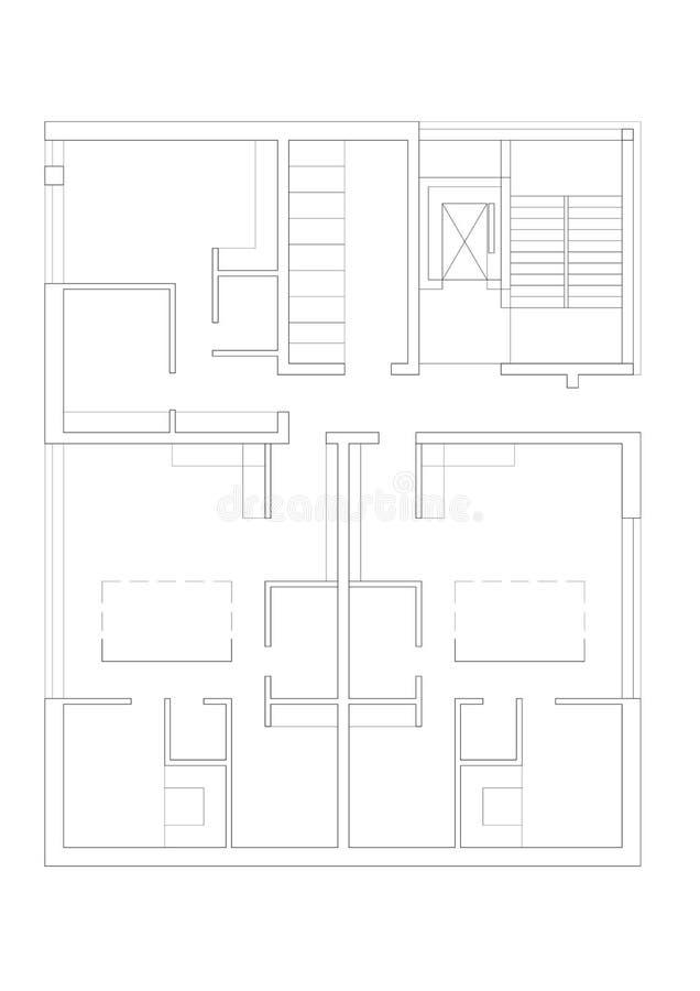 2D tekening - plattegrond van het het leven huis met meerdere gezinnen stock illustratie