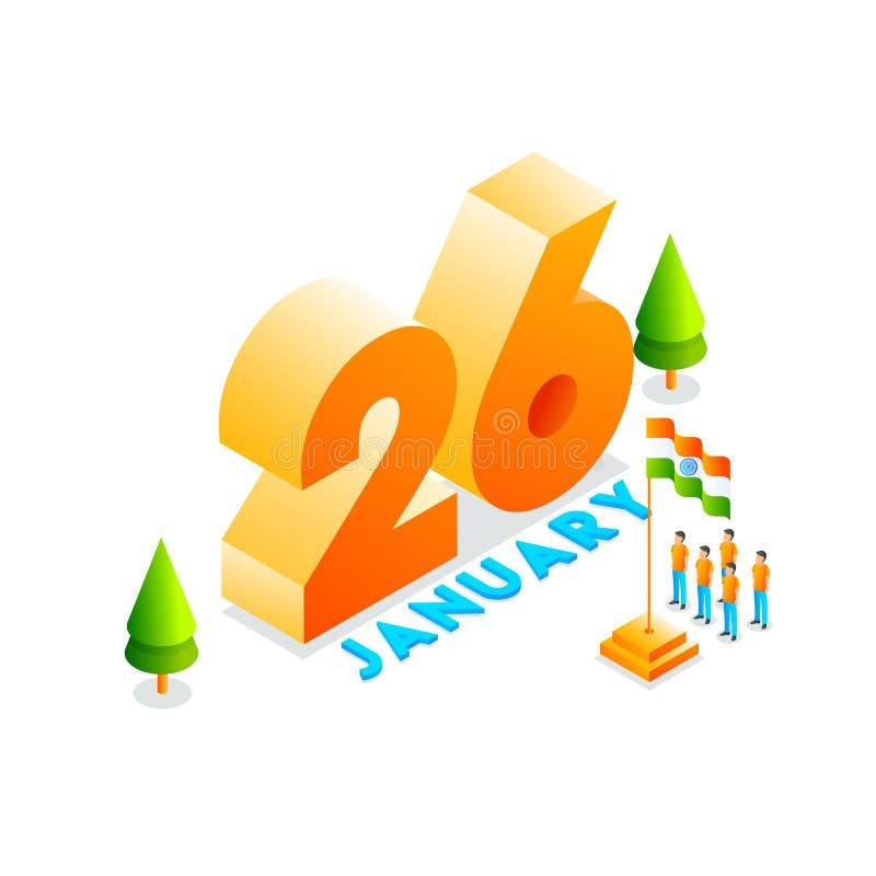 3D tekst 26 Januari met illustratie van mensen het eren van Indische vlag voor Gelukkige de Dagviering van de Republiek Kan als b royalty-vrije illustratie