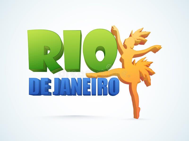 3D Tekst Rio De Janeiro met Samba Dancer royalty-vrije illustratie