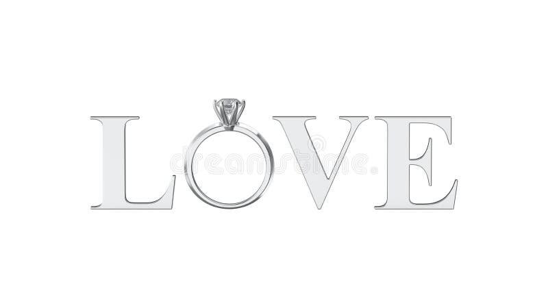 3D teksta słowa ilustracyjna odosobniona srebna miłość z diamentowym wedd ilustracja wektor