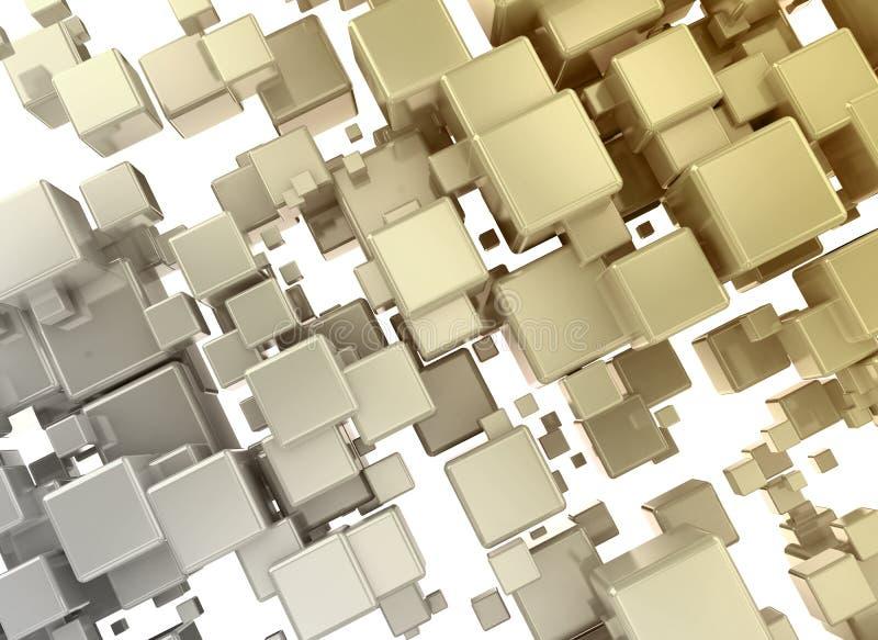 3d 3d tekstury abstrakcjonistyczni pomarańczowi złoci sześciany ilustracja wektor