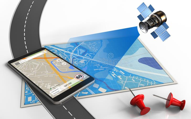3d telefoonnavigatie stock illustratie