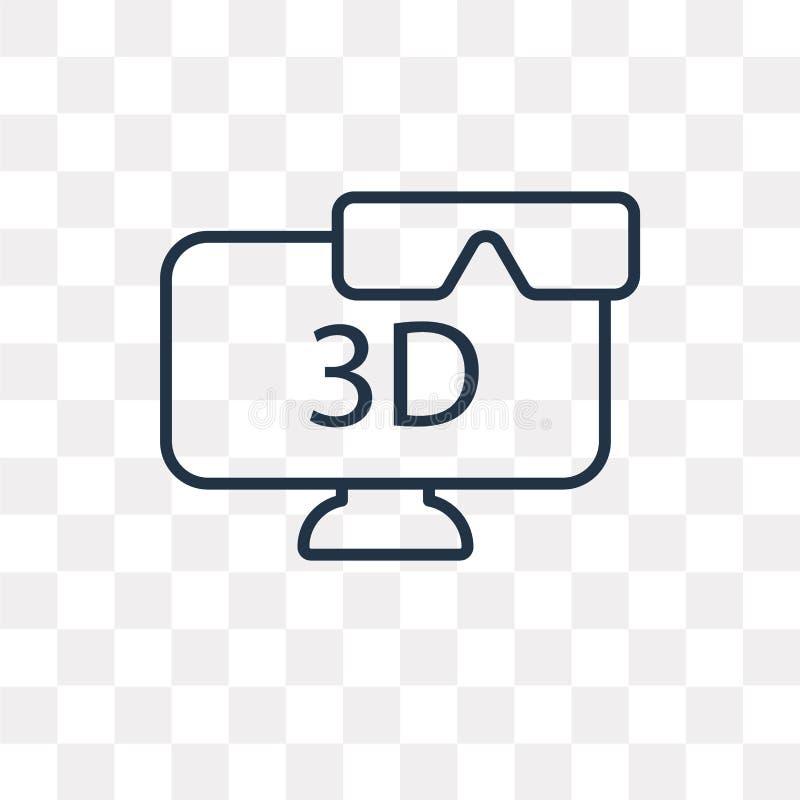 3D Televisie vectordiepictogram op transparante achtergrond, Li wordt geïsoleerd royalty-vrije illustratie