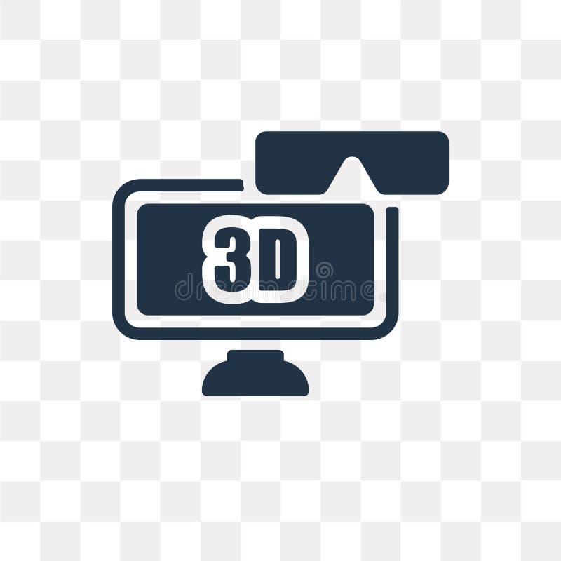 3D Televisie vectordiepictogram op transparante 3D achtergrond wordt geïsoleerd, vector illustratie