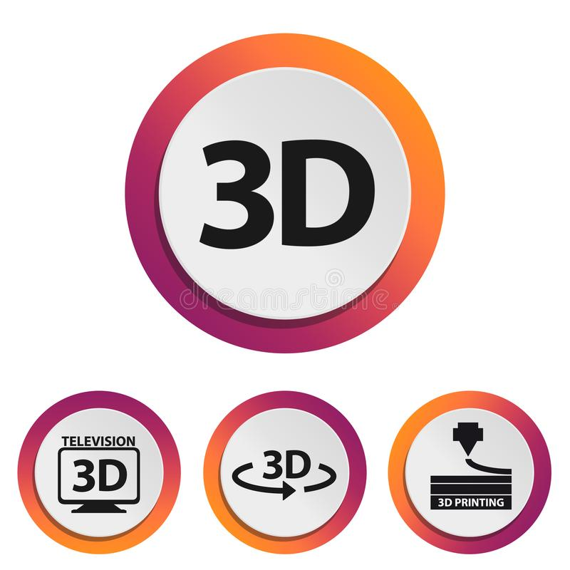 3D telewizi I druku technologii ikony Odizolowywać Na Białym tle - Kolorowa Wektorowa ilustracja - ilustracji