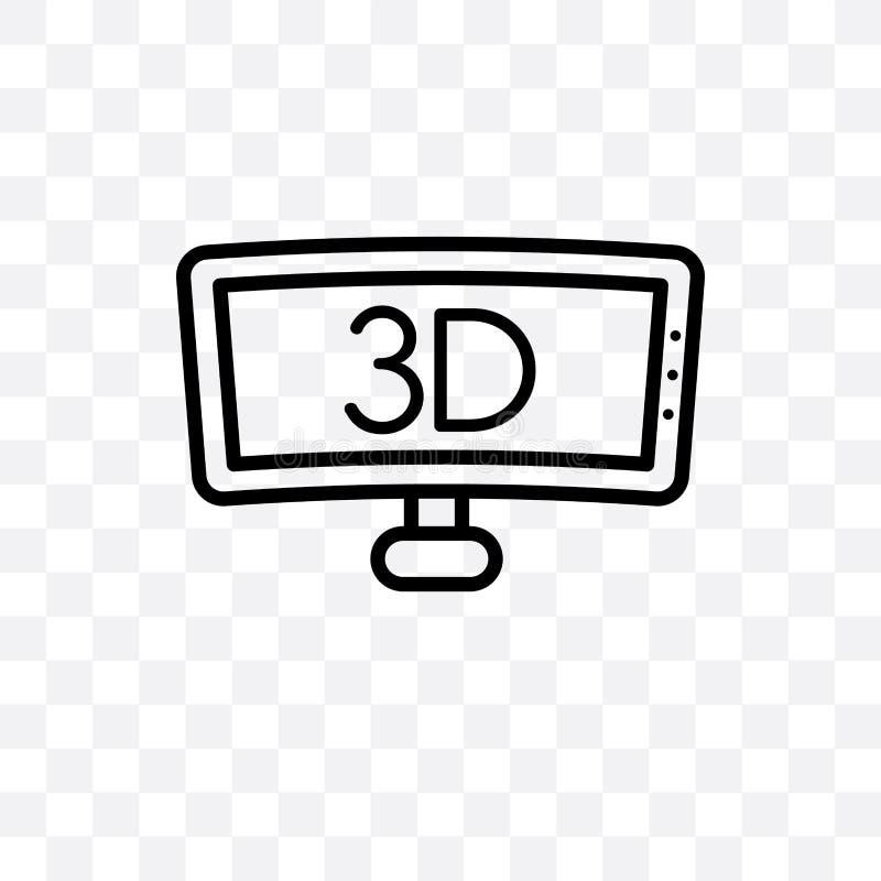 3D Telewizyjna wektorowa liniowa ikona odizolowywająca na przejrzystym tle, 3D przezroczystości Telewizyjny pojęcie może używać d ilustracji