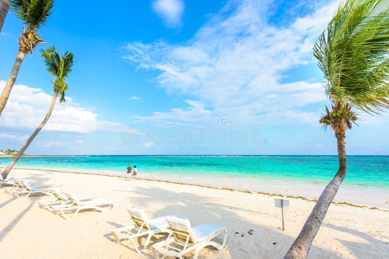 D?tendant sur le canap? du soleil ? la plage d'Akumal - Maya de la Riviera - plages de paradis chez Cancun, Quintana Roo, Mexique image stock