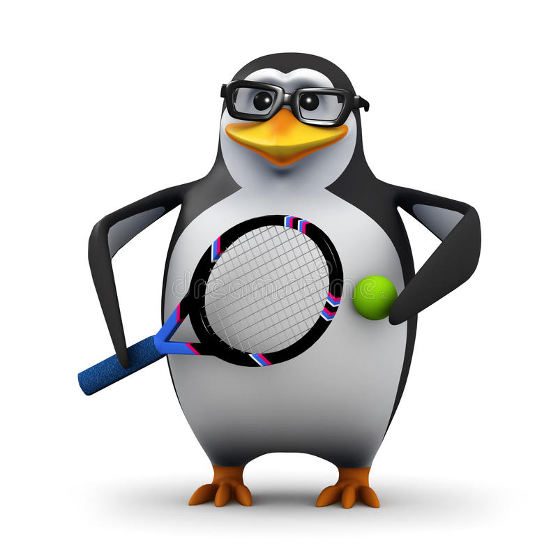 3d Tennis Pro Penguin Stock Illustration