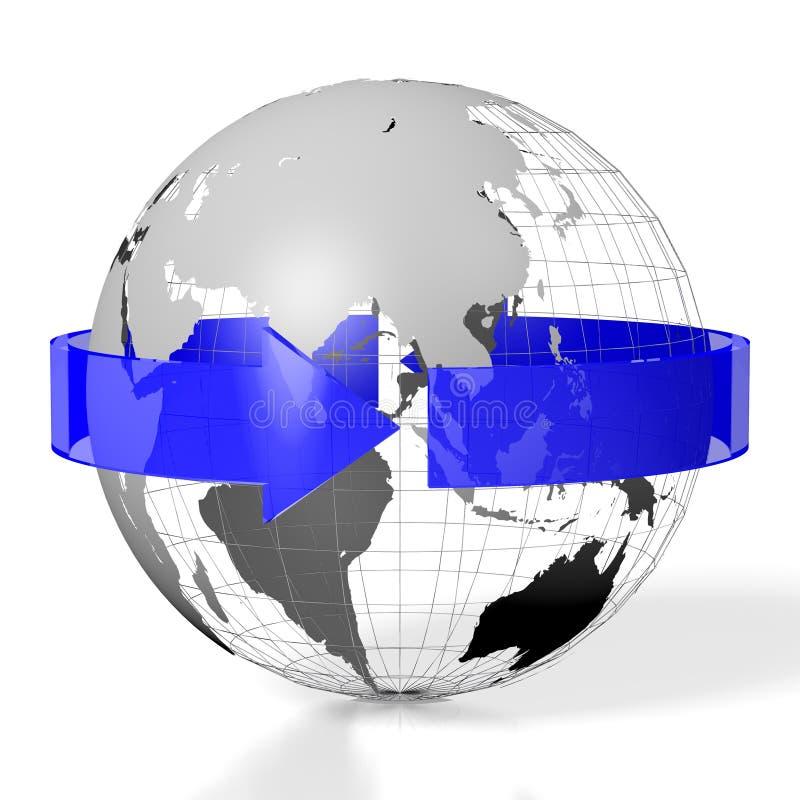 3D terra, conceito do curso ilustração do vetor