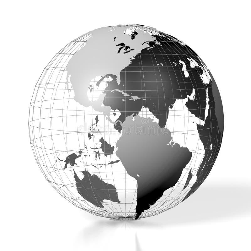 3D terra, mapa do mundo ilustração stock