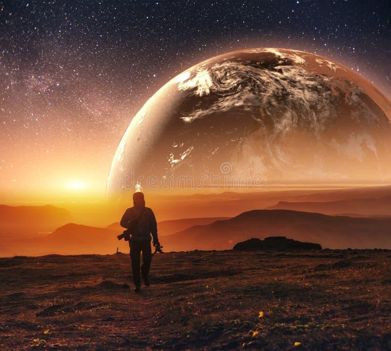 3D terra realística Lyustration Cortesia da NASA Homem no espaço imagem de stock